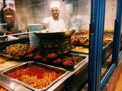The hot foods counter