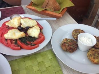 Tomato Salad- Zucchini Fritters